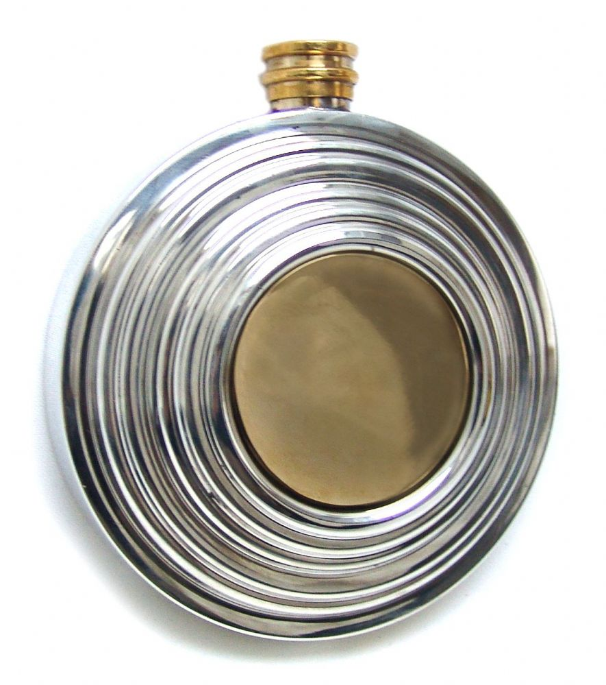 Clay Pigeon Shooting Brass & Pewter 6oz Hip Flask  Discounted Engraving